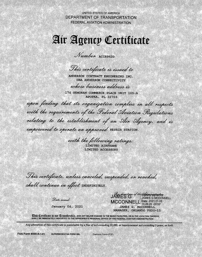 Anderson Connectivity Air Agency Certificate
